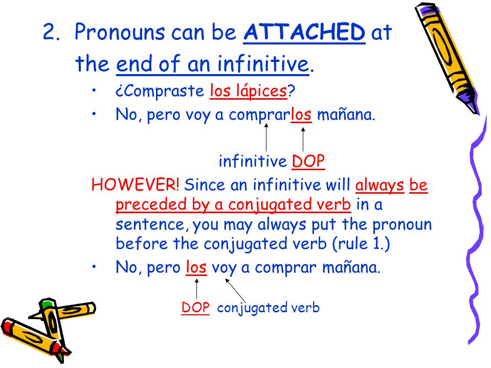 2.Pronouns can be ATTACHED at the end of an infinitive.