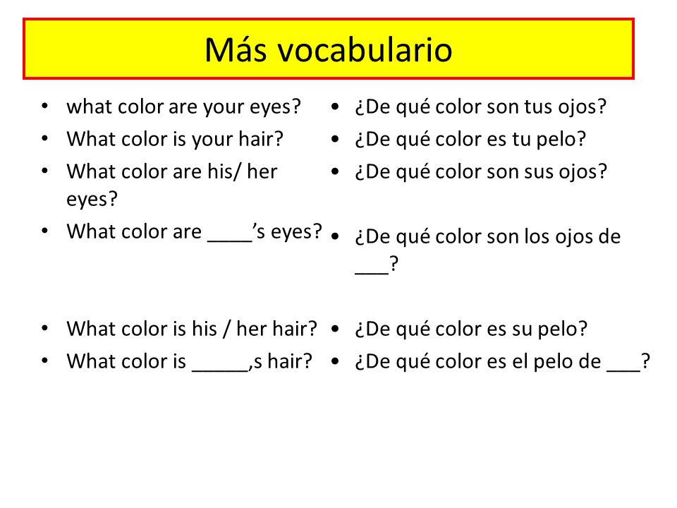 Más vocabulario what color are your eyes. What color is your hair.