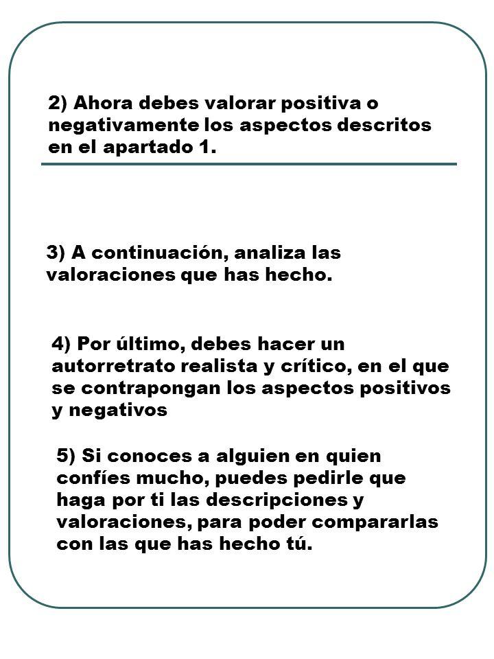 aspectos positivos y negativos del autoestima