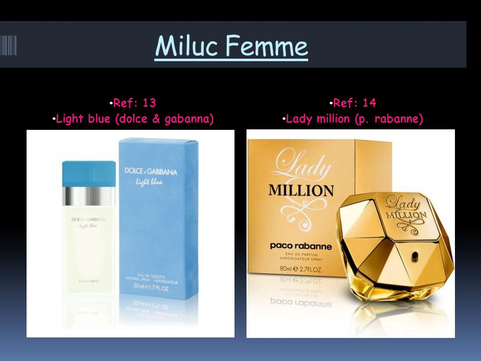 Miluc Femme Ref: 13 Light blue (dolce & gabanna) Ref: 14 Lady million (p. rabanne)