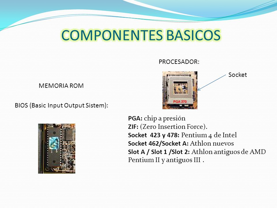 PROCESADOR: Socket BIOS (Basic Input Output Sistem): MEMORIA ROM PGA: chip a presión ZIF: (Zero Insertion Force).