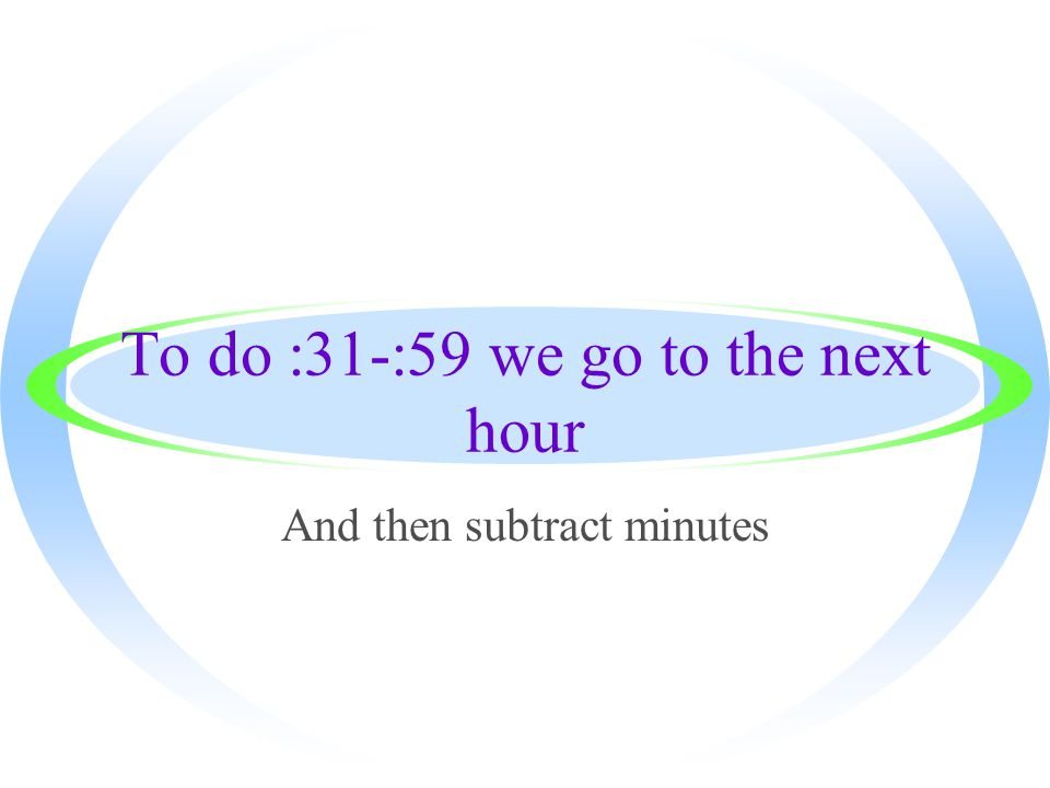 To do :31-:59 we go to the next hour And then subtract minutes