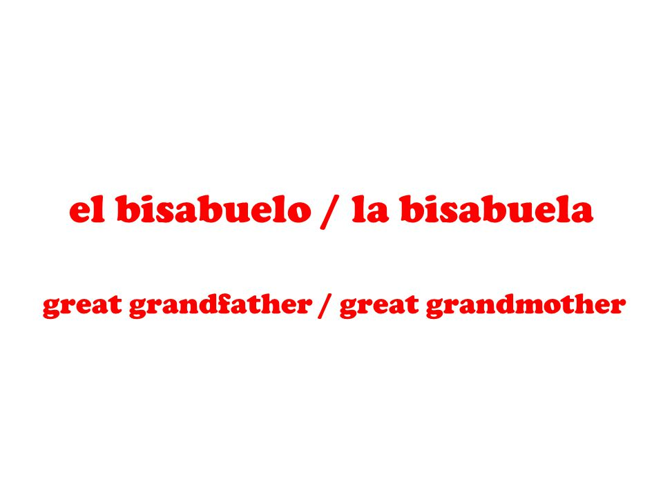 el bisabuelo / la bisabuela great grandfather / great grandmother