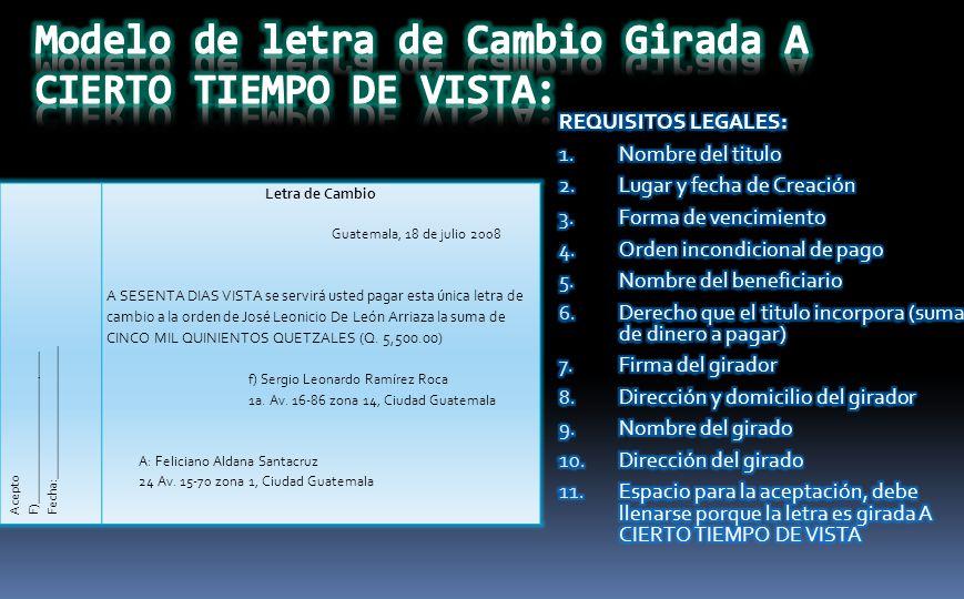 Letra De Cambio Guatemala 18 Julio 2008