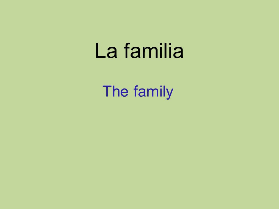 La familia The family