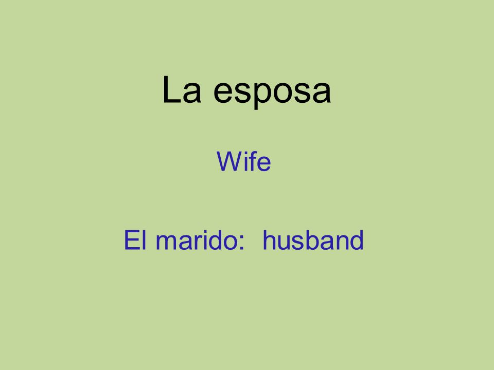 La esposa Wife El marido: husband