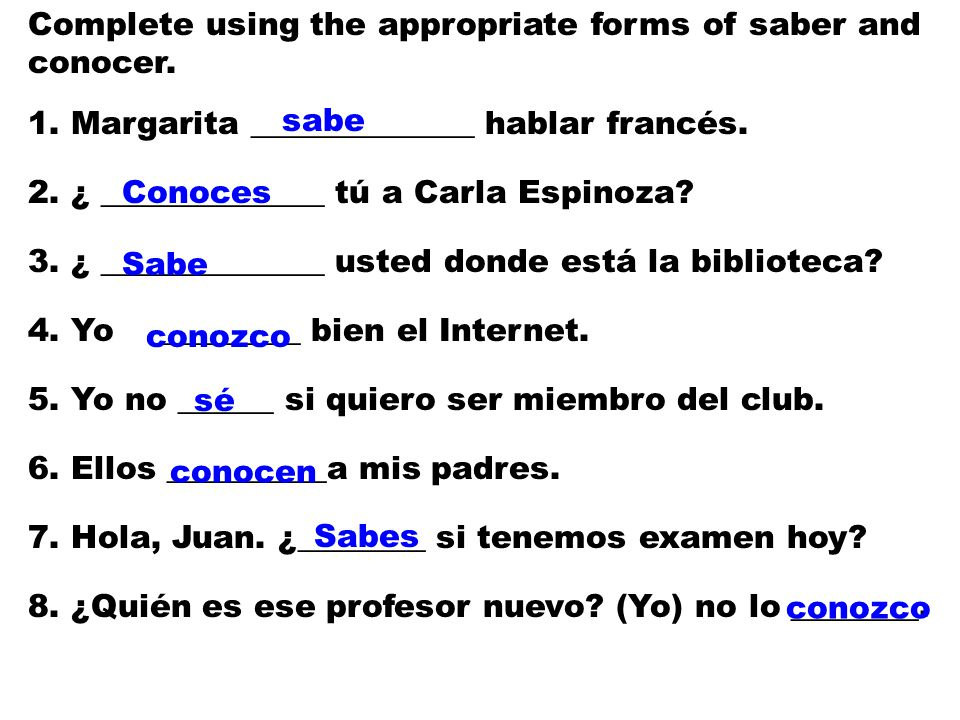 Complete using the appropriate forms of saber and conocer.