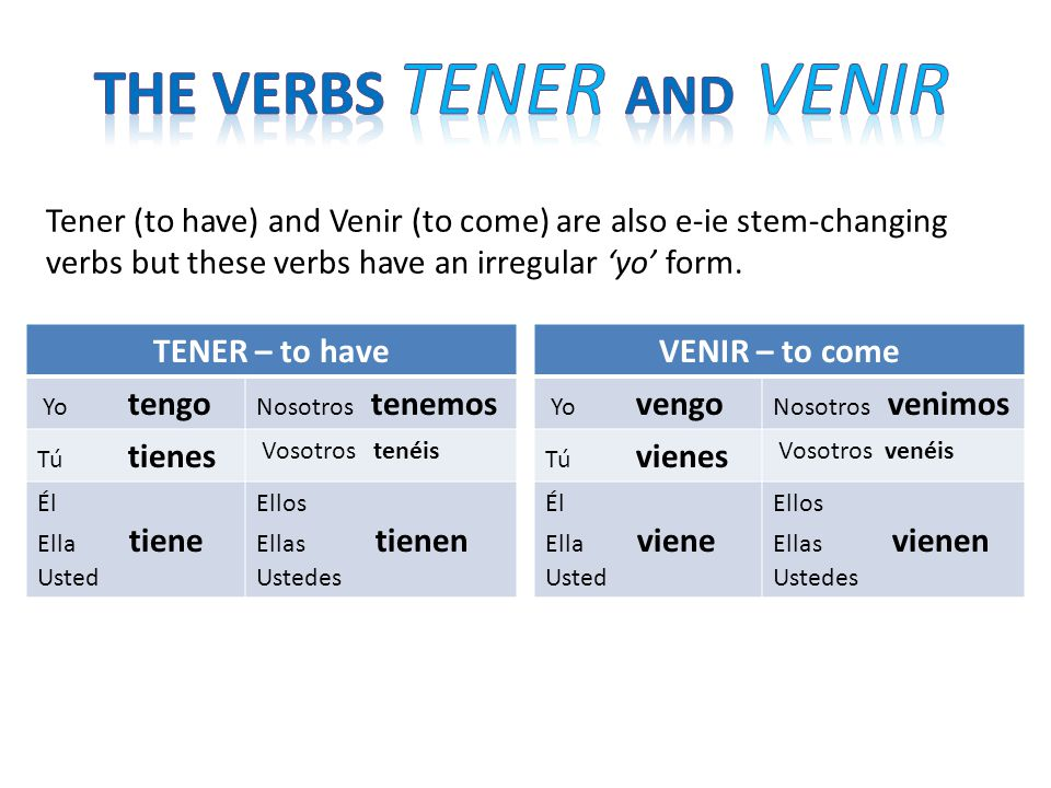 Tener (to have) and Venir (to come) are also e-ie stem-changing verbs but these verbs have an irregular 'yo' form.