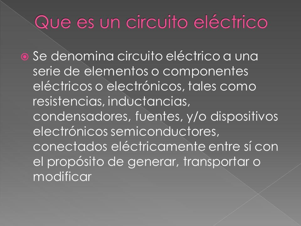 Circuito Electrico En Serie : Se denomina circuito eléctrico a una serie de elementos o