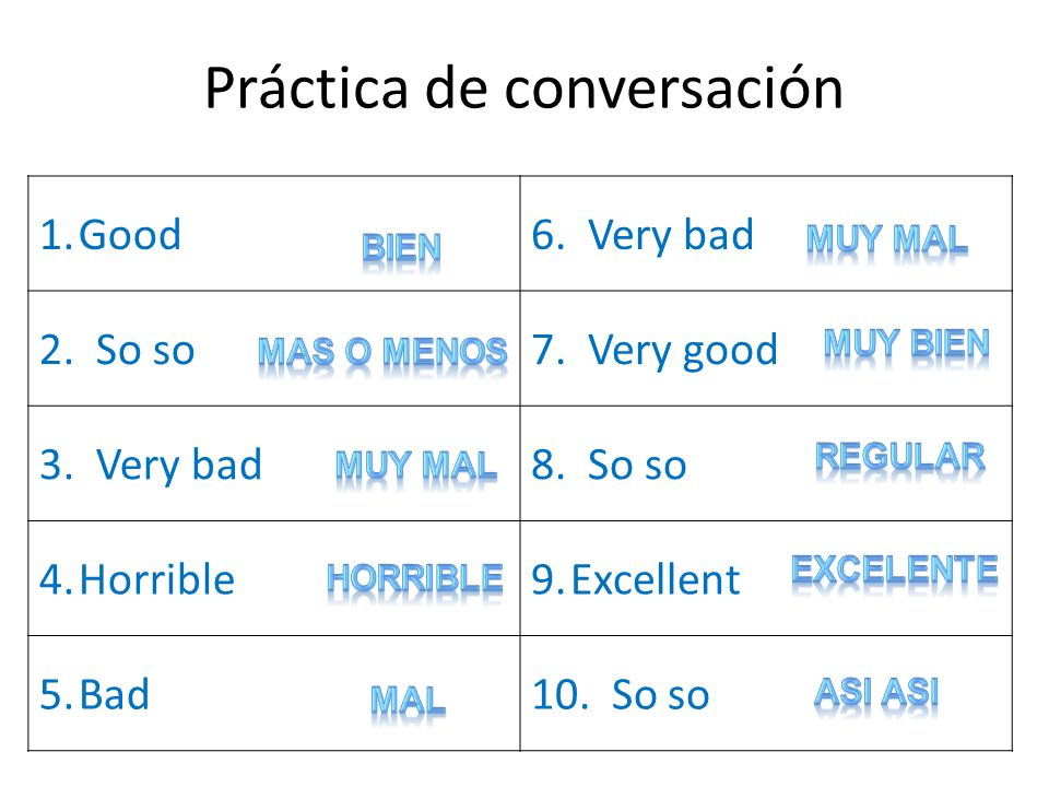 Práctica de conversación 1.Good6. Very bad 2. So so7.
