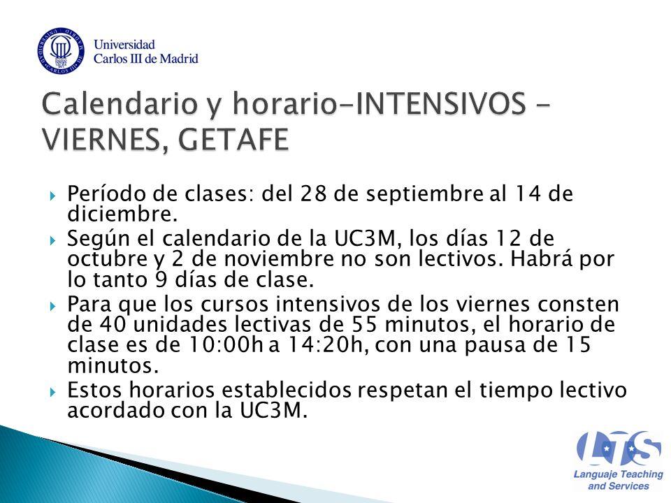 Calendario Uc3m.Periodo De Clases Del 28 De Septiembre Al 14 De Diciembre Segun