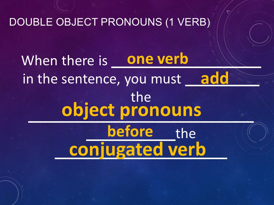 DOUBLE OBJECT PRONOUNS (1 VERB) When there is ____________________ in the sentence, you must __________ the ______________________________ ____________the _______________________ before conjugated verb object pronouns add one verb