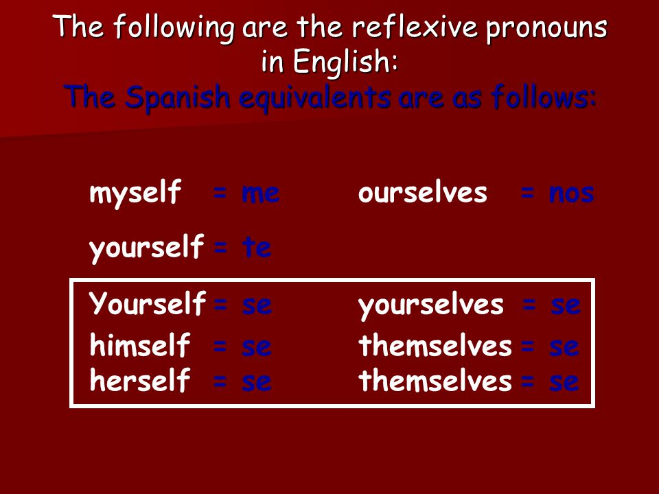 The following are the reflexive pronouns in English: The Spanish equivalents are as follows: myself yourself Yourself himself ourselves yourselves themselves herselfthemselves = me = te = se = nos = se