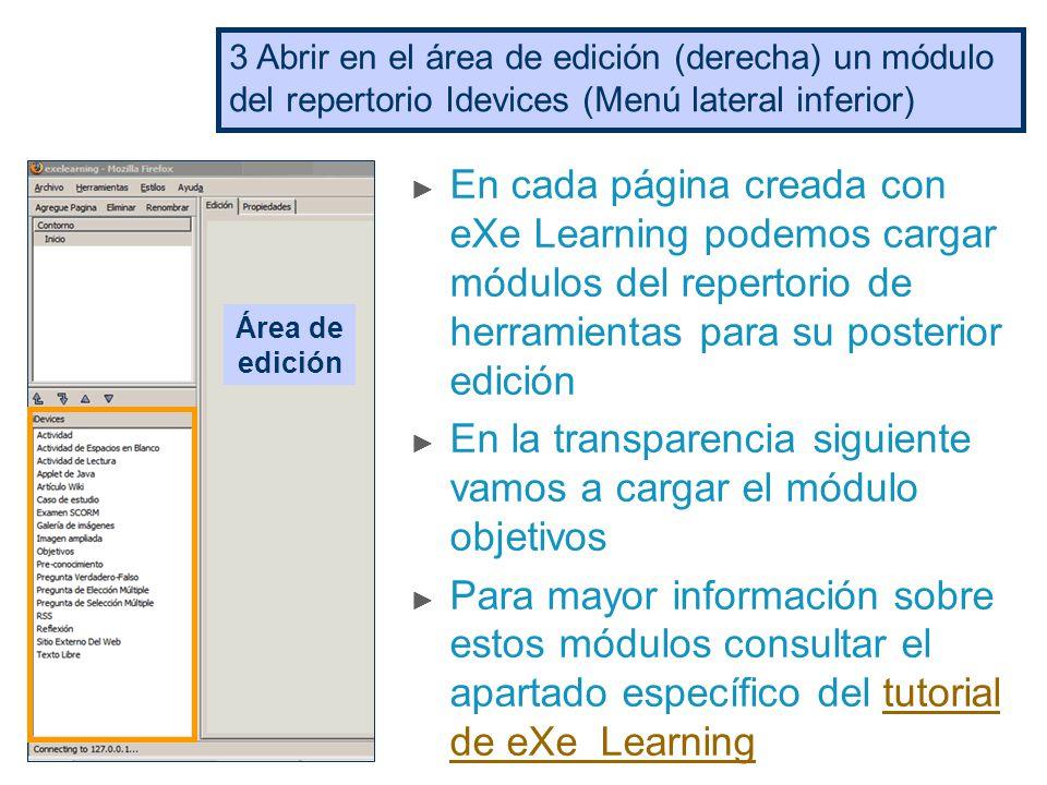 Primeros pasos con eXe ▻ Esta presentación muestra cómo: Guardar un