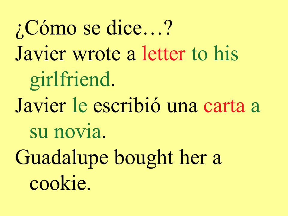 ¿Cómo se dice…. Javier wrote a letter to his girlfriend.