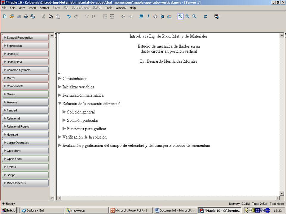 Aplicación de Maple en el estudio de mecánica de fluidos - ppt descargar