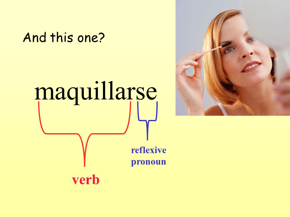 And this one maquillarse verb reflexive pronoun
