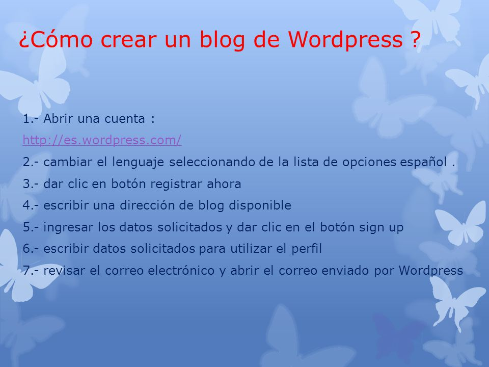 ¿Cómo crear un blog de Wordpress .