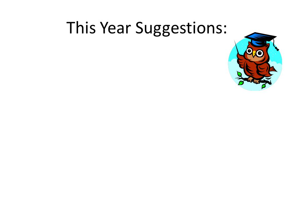 This Year Suggestions: