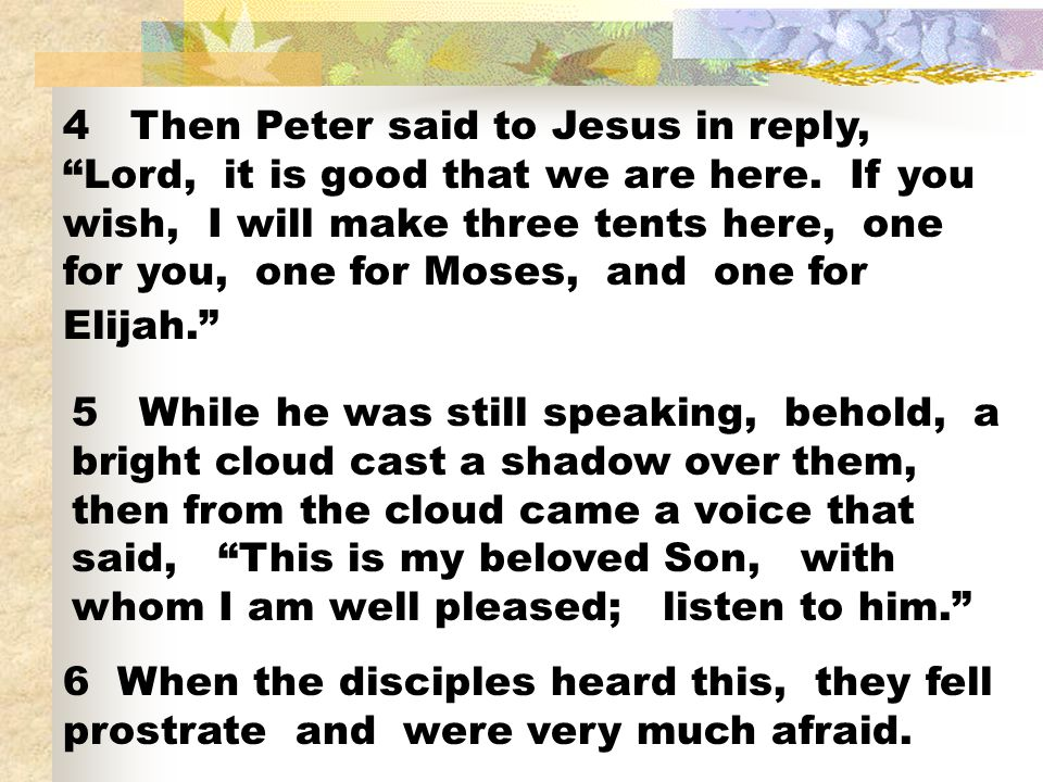 4 Then Peter said to Jesus in reply, Lord, it is good that we are here.