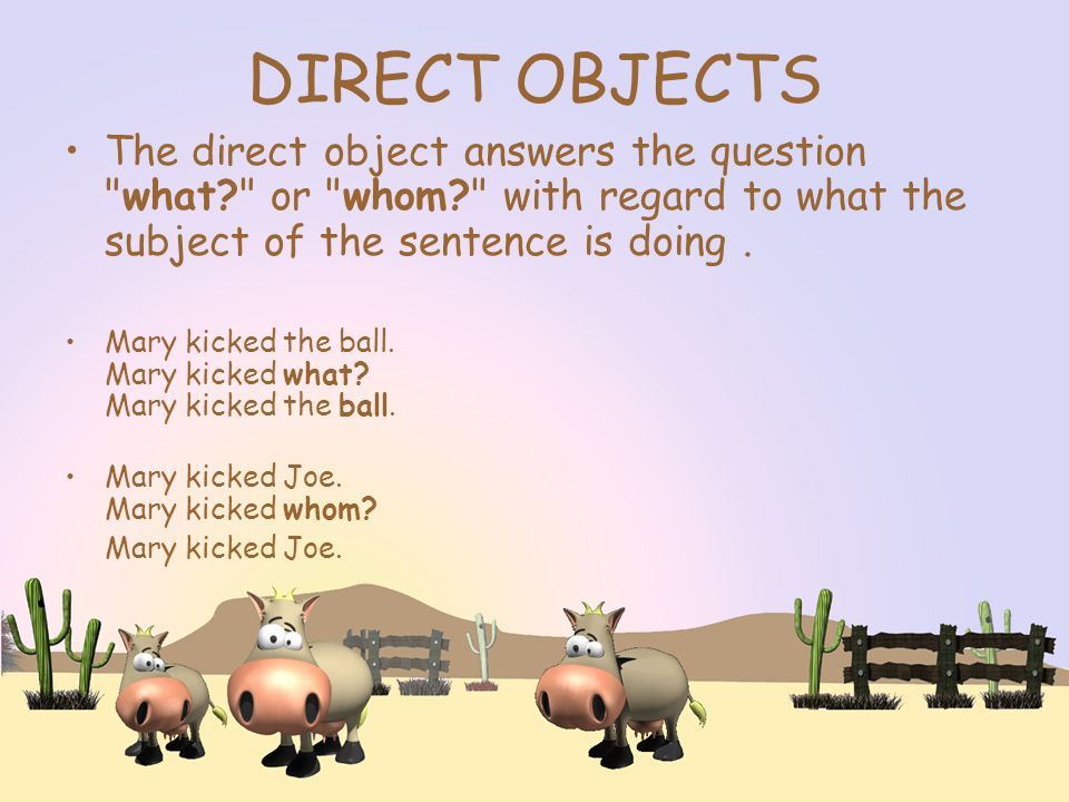 DIRECT OBJECTS The direct object answers the question what or whom with regard to what the subject of the sentence is doing.