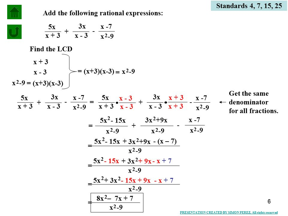 6 Add The Following Rational Expressions 3x X 3 5x