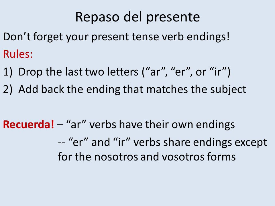 Repaso del presente Don't forget your present tense verb endings.