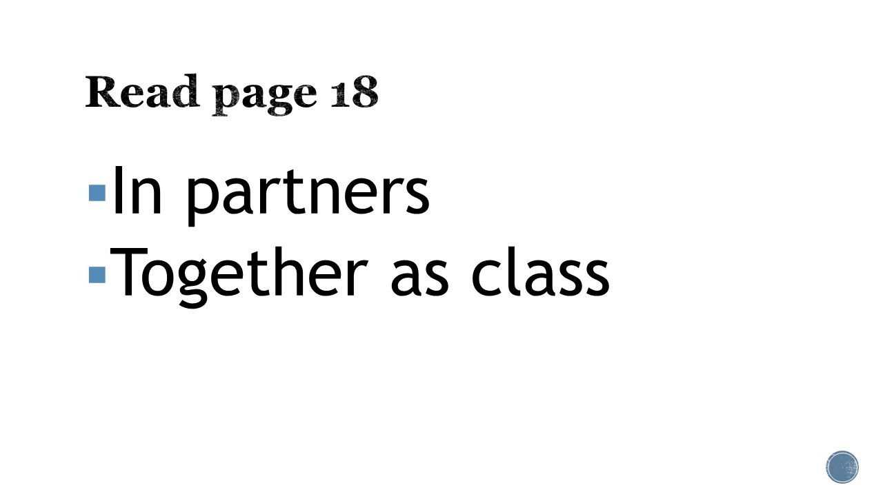  In partners  Together as class