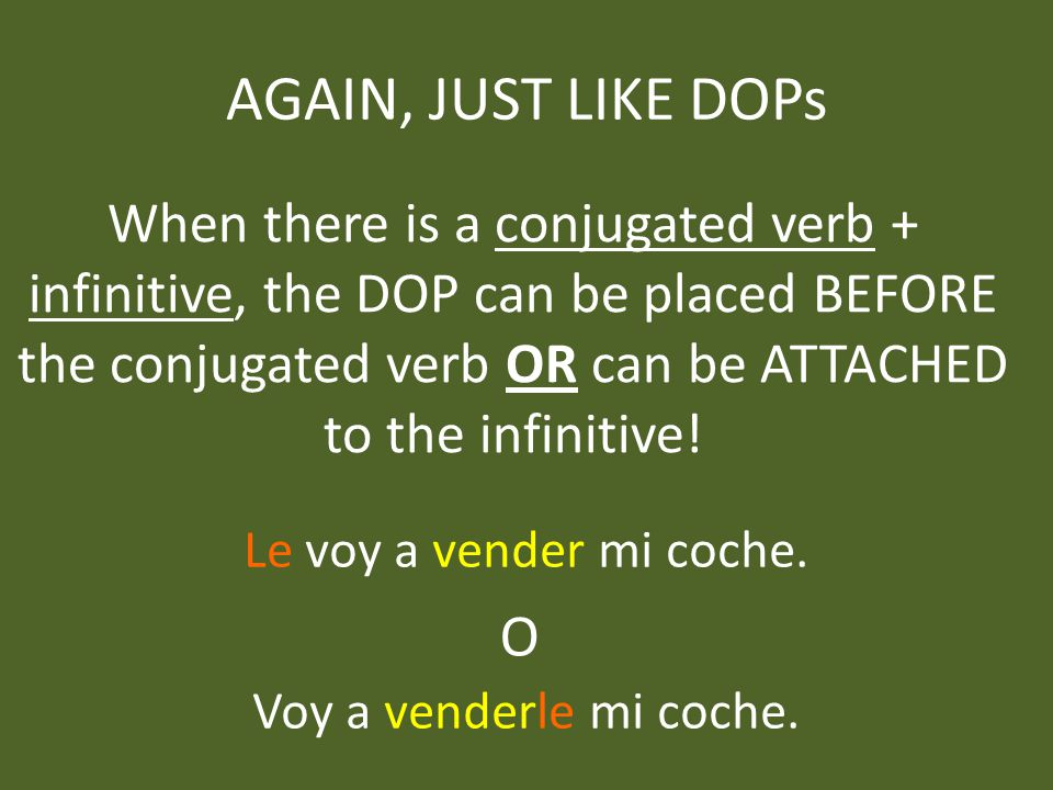 AGAIN, JUST LIKE DOPs When there is a conjugated verb + infinitive, the DOP can be placed BEFORE the conjugated verb OR can be ATTACHED to the infinitive.
