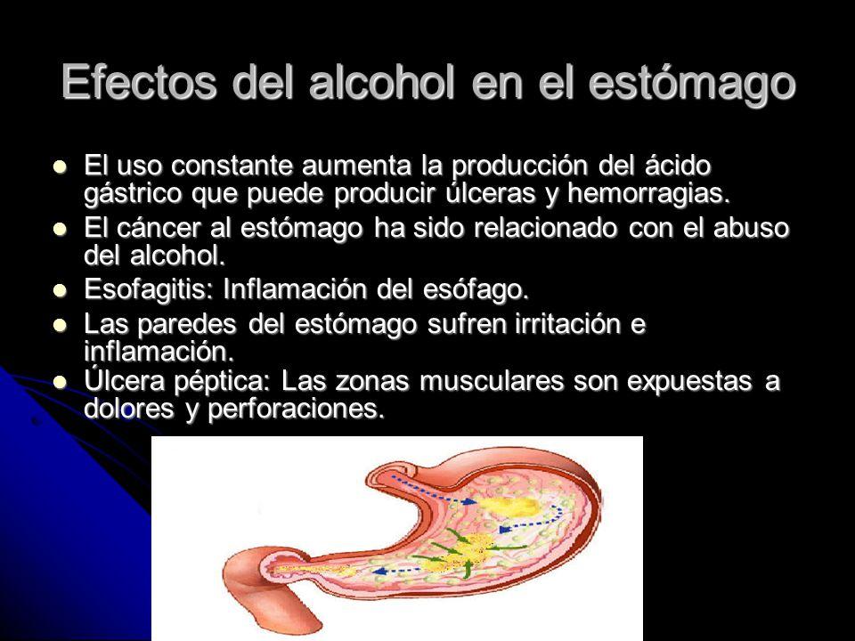 que efectos produce el alcohol en el estomago
