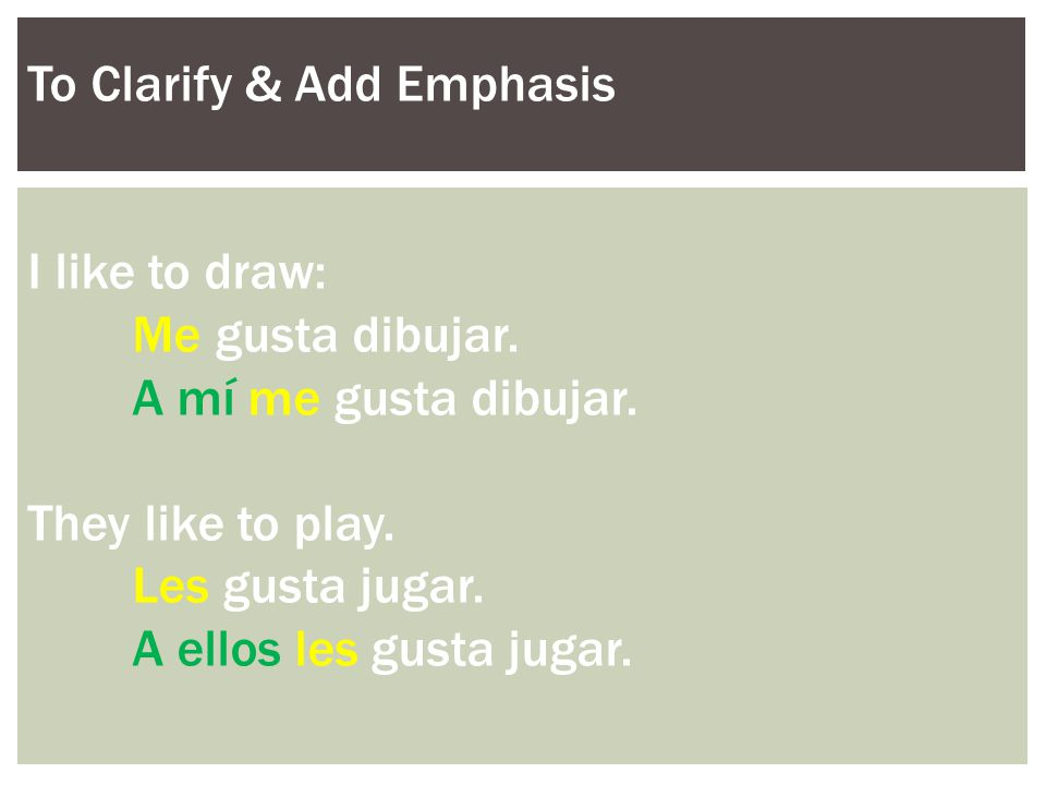 To Clarify & Add Emphasis I like to draw: Me gusta dibujar.