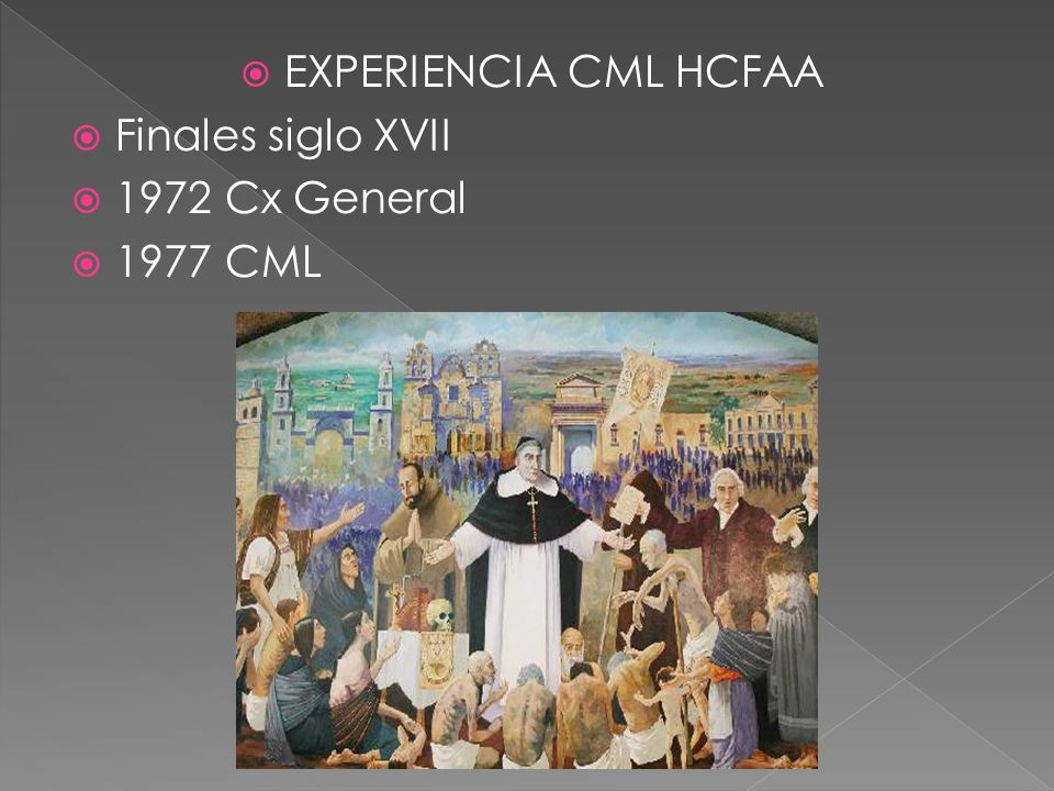EXPERIENCIA CML HCFAA Finales siglo XVII 1972 Cx General 1977 CML