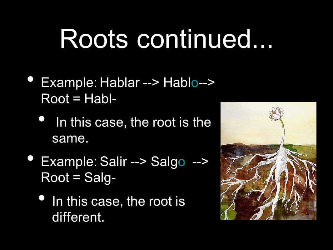 Roots continued... Example: Hablar --> Hablo--> Root = Habl- In this case, the root is the same.