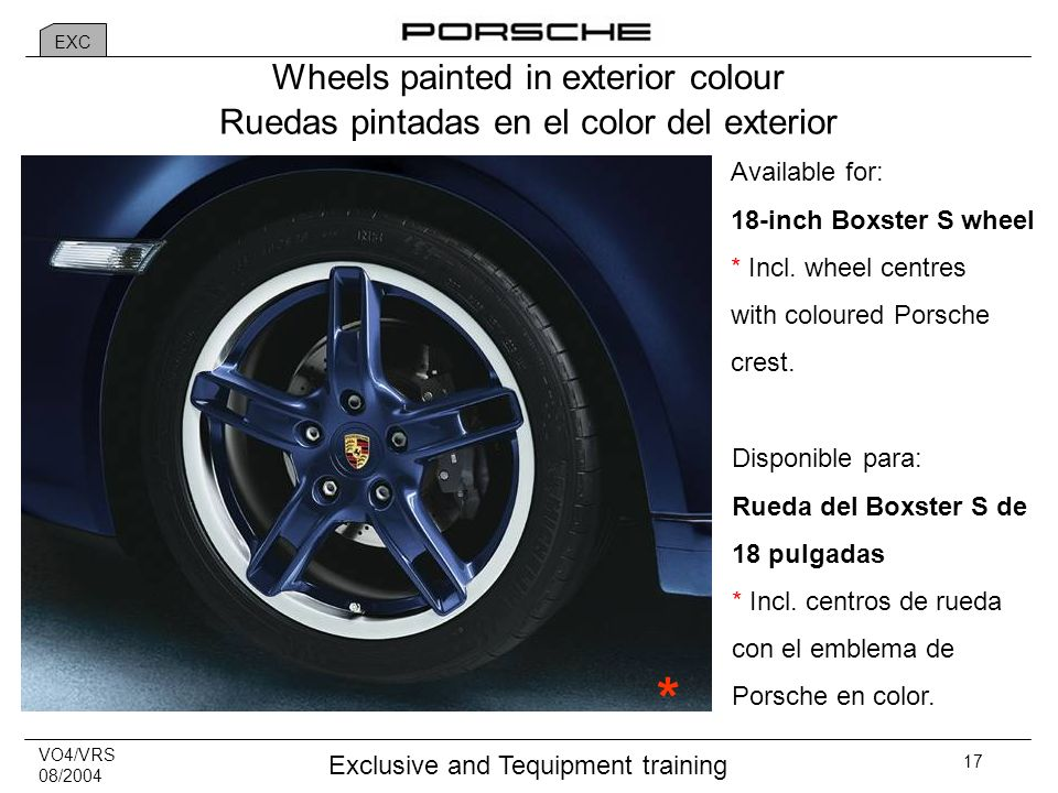 VO4/VRS 08/2004 Exclusive and Tequipment training 17 Wheels painted in exterior colour Available for: 18-inch Boxster S wheel * Incl.