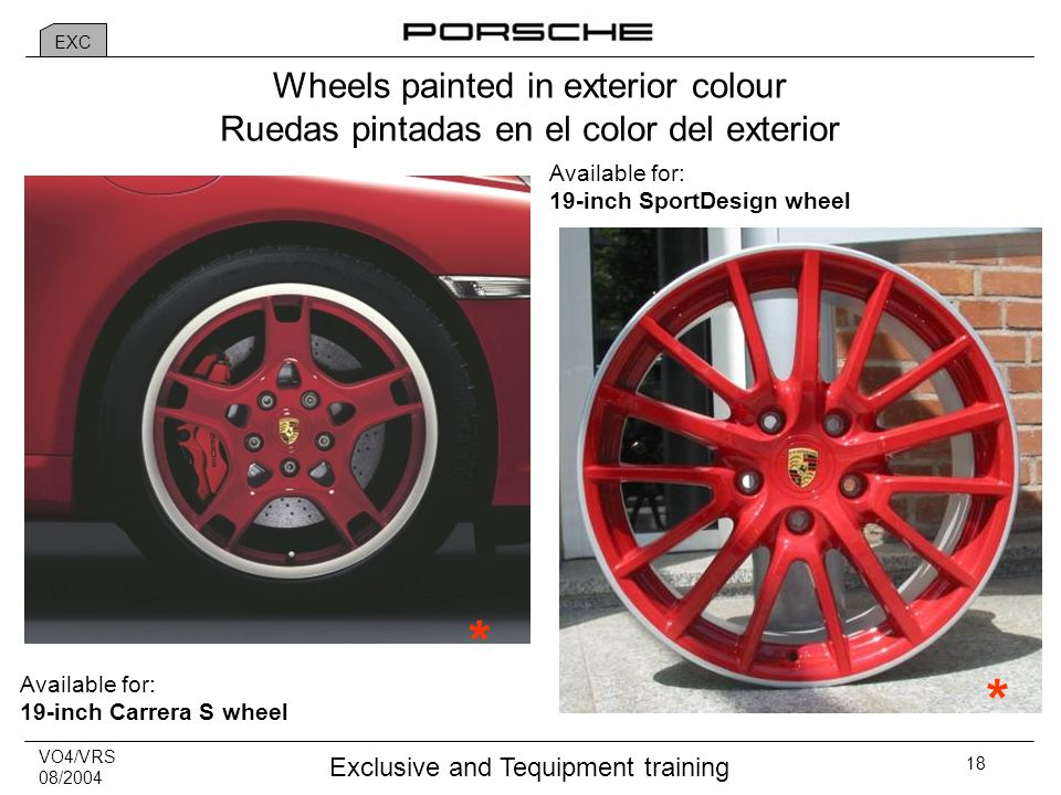 VO4/VRS 08/2004 Exclusive and Tequipment training 18 * * Available for: 19-inch SportDesign wheel Available for: 19-inch Carrera S wheel Wheels painted in exterior colour Ruedas pintadas en el color del exterior EXC