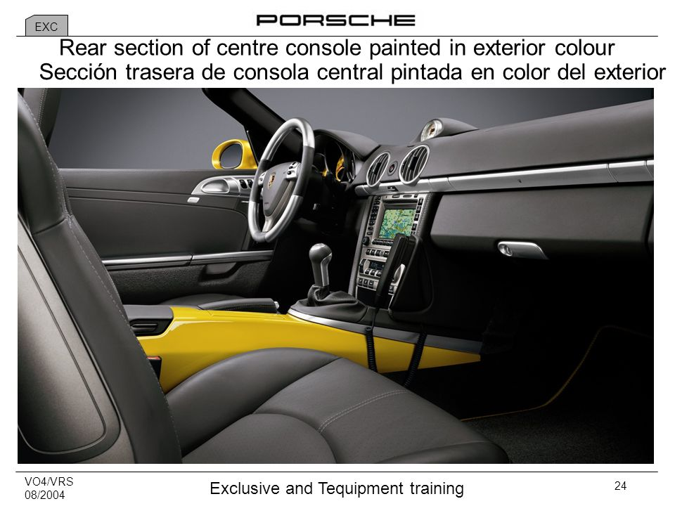 VO4/VRS 08/2004 Exclusive and Tequipment training 24 Rear section of centre console painted in exterior colour Sección trasera de consola central pintada en color del exterior EXC