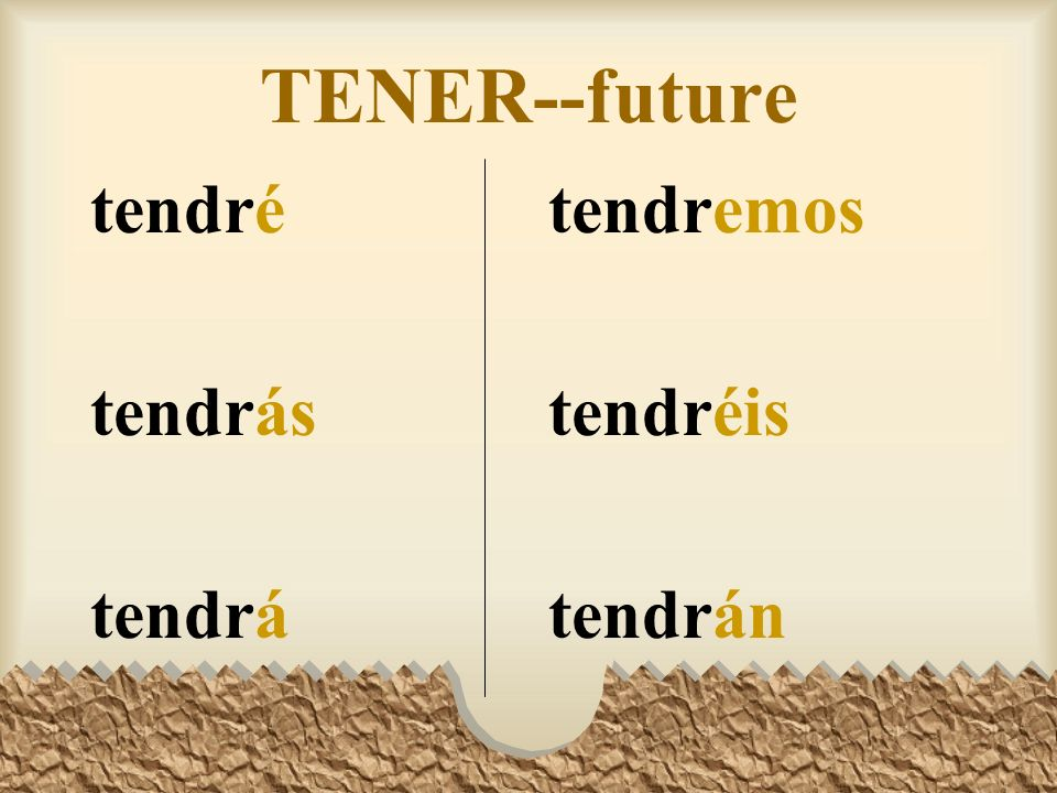 The Future Tense The verbs tener, poder, saber, and hacer have irregular stems in the future tense: tendr-, podr-, sabr-, and har- The endings however are the same as for regular verbs.