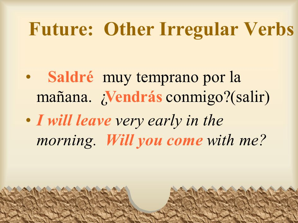 Future: Other Irregular Verbs luchar contra la guerra y por la paz.(querer) We will want to fight against war and for peace.