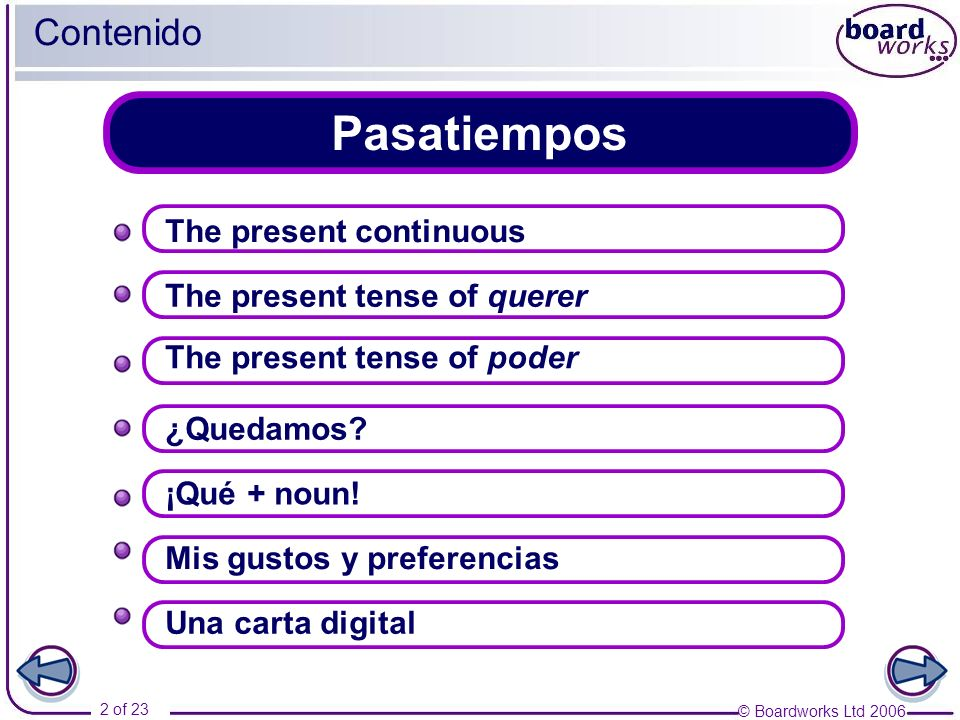 © Boardworks Ltd 2006 2 of 23 Pasatiempos Contenido The present tense of querer ¡Qué + noun.
