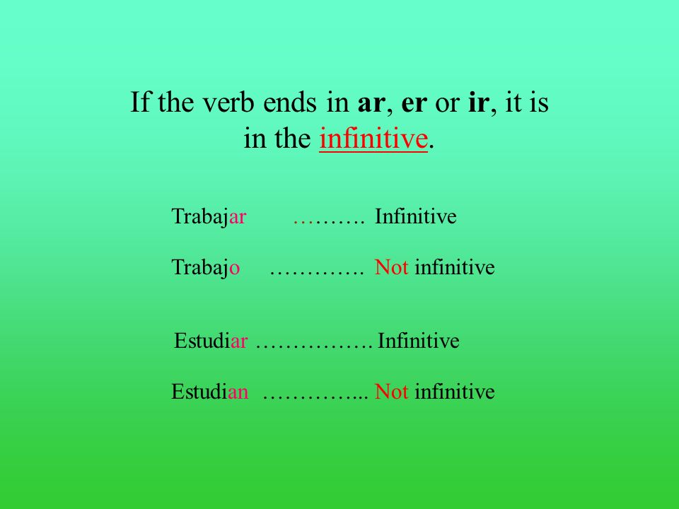 These verbs are in the infinitive form. Hablar Aprender Vivir An important word.