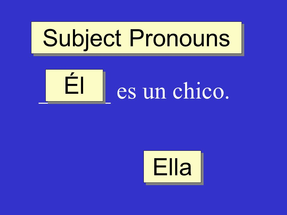Subject Pronouns ______ es un chico. Él Ella