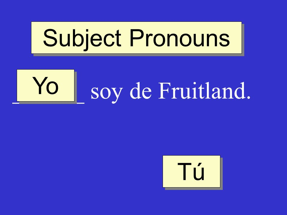 Subject Pronouns ______ soy de Fruitland. Tú Yo