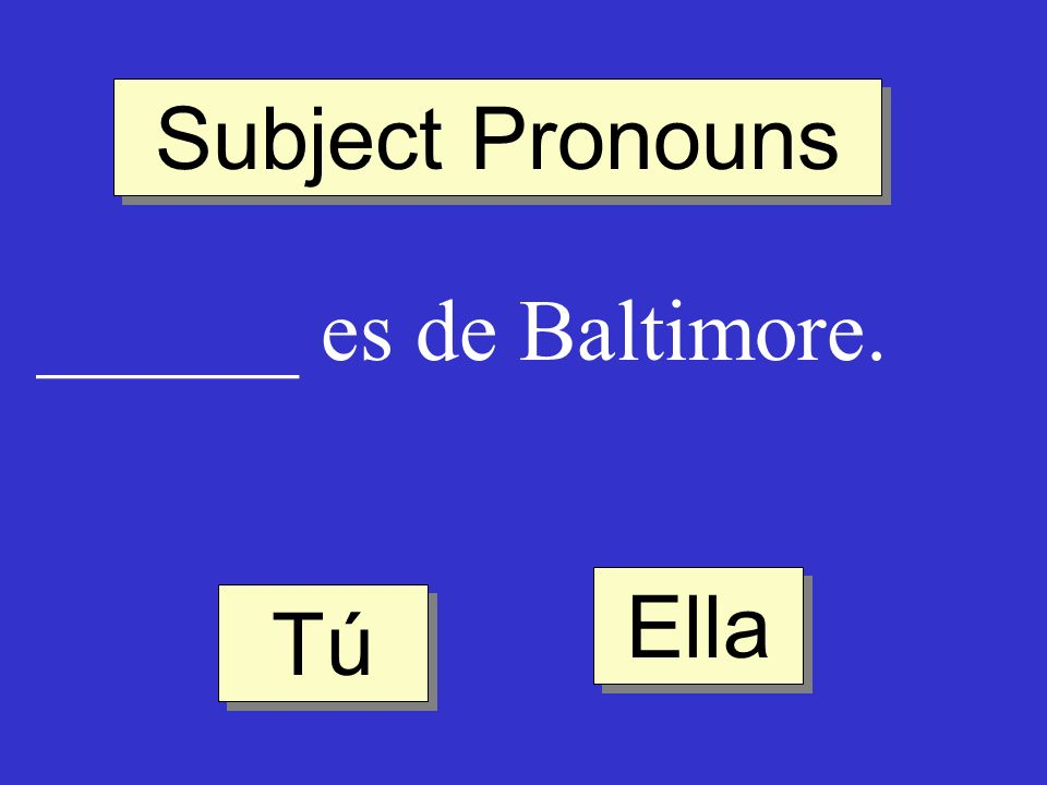 Subject Pronouns ______ es de Baltimore. Ella Tú
