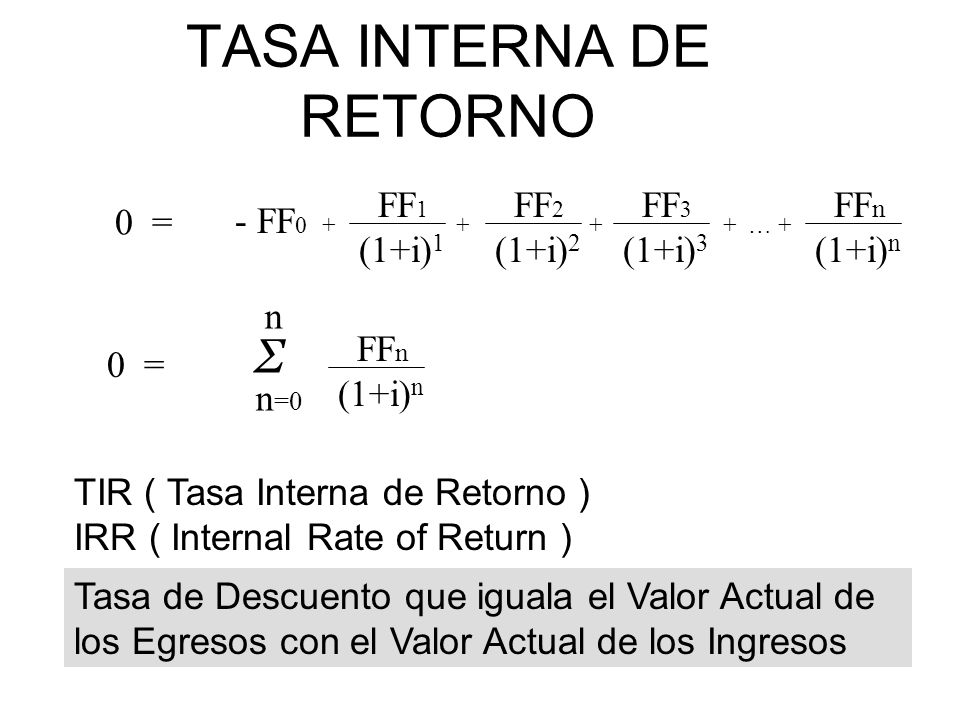 TASA INTERNA DE RETORNO - FF … + FF 1 (1+i) 1 FF 2 (1+i) 2 FF 3 (1+i) 3 FF n (1+i) n 0 = FF n (1+i) n n Σ n =0 Tasa de Descuento que iguala el Valor Actual de los Egresos con el Valor Actual de los Ingresos TIR ( Tasa Interna de Retorno ) IRR ( Internal Rate of Return )