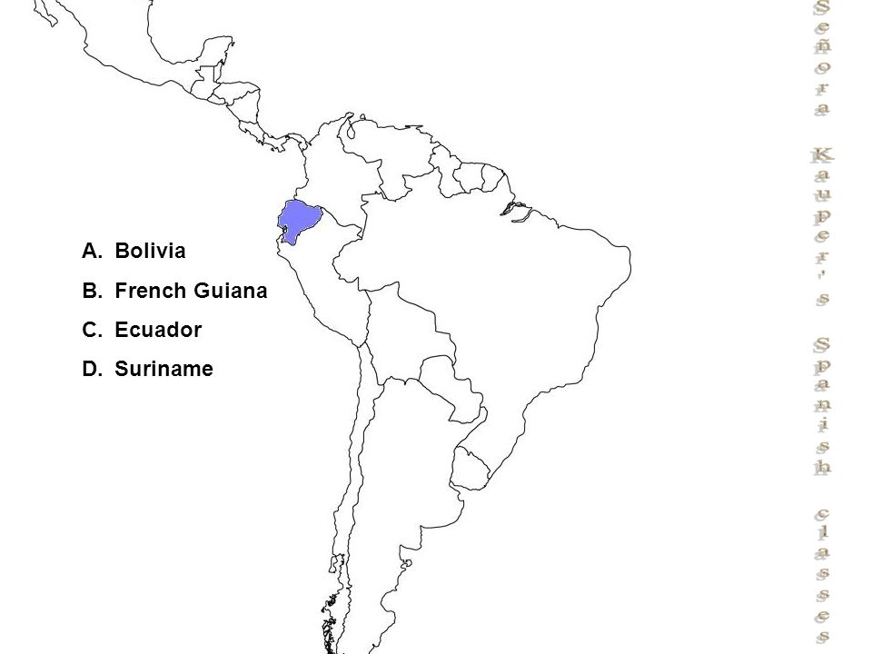 Señora Kauper s Spanish classes A.Bolivia B.French Guiana C.Ecuador D.Suriname