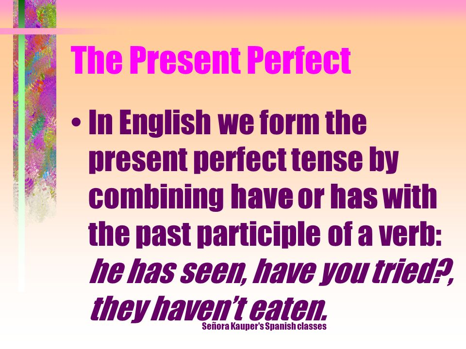 The Present Perfect Señora Kauper s Spanish classes