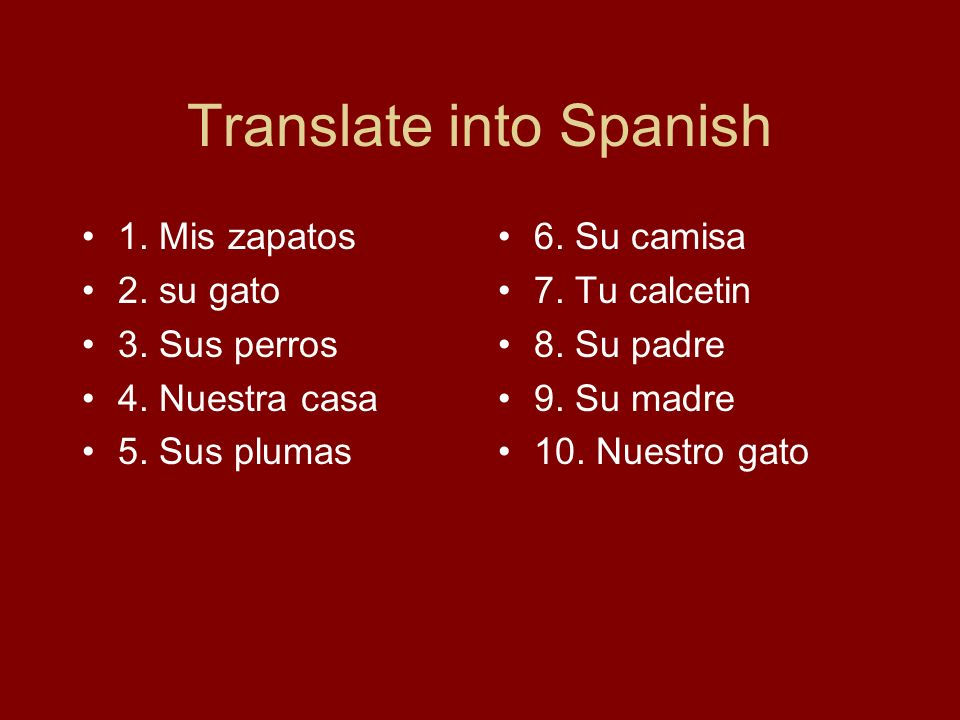 Translate into Spanish 1. Mis zapatos 2. su gato 3.