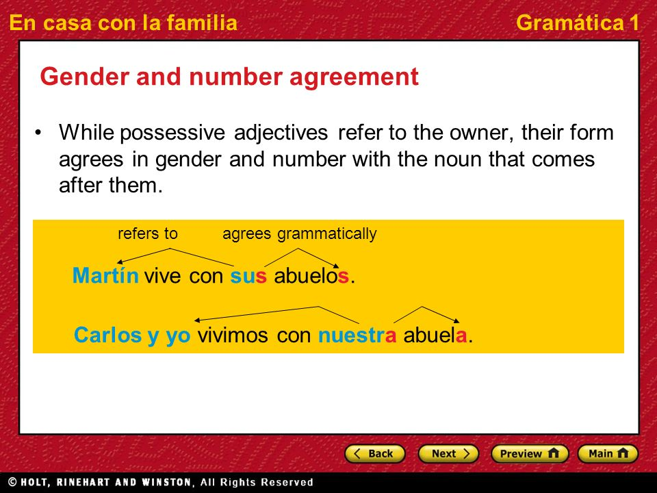 En casa con la familiaGramática 1 Gender and number agreement While possessive adjectives refer to the owner, their form agrees in gender and number with the noun that comes after them.