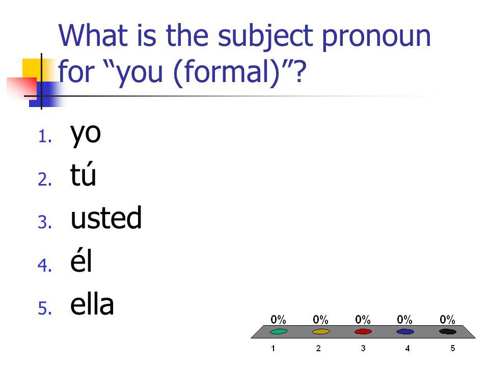 What is the subject pronoun for you (formal) 1. yo 2. tú 3. usted 4. él 5. ella