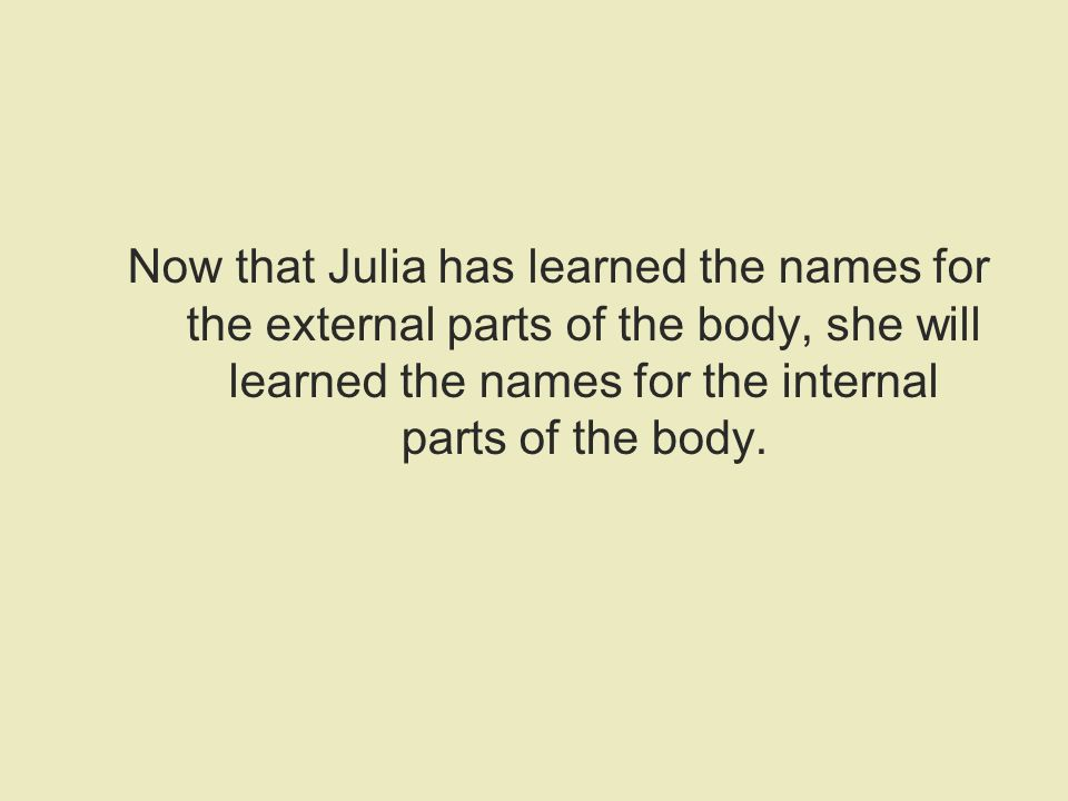 Now that Julia has learned the names for the external parts of the body, she will learned the names for the internal parts of the body.